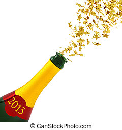 New Year's Eve - golden stars exploding from a bottle of...