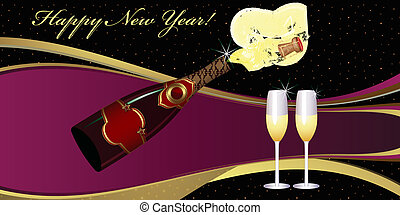 New Year's Eve greeting card. Two Champagne Glasses. New...