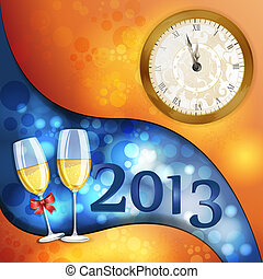 New year's eve greeting card with glasses of champagne