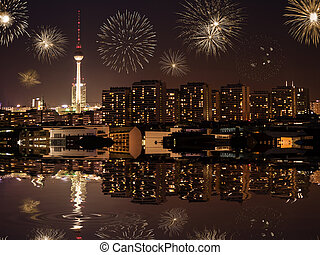 new year's eve in berlin with fireworks