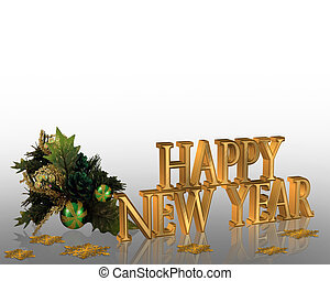 Illustration composition for New Years eve greeting card or invitation with 3D text and holly