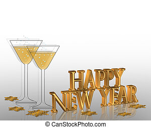 Illustration composition for New Years eve greeting card or invitation with 3D text and champagne glasses.