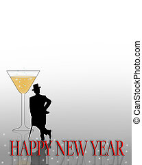 Illustration for New Years Eve celebration with silhouetted man in Top hat and tails