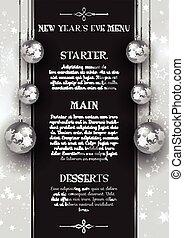 New Year's Eve menu design