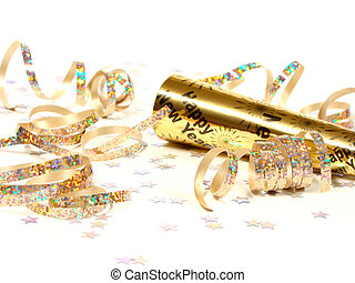 New Year's Eve noisemaker and party confetti over white