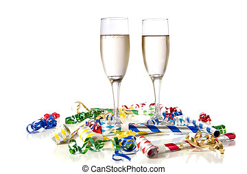 New Year\'s Eve Party - Two glasses of champagne with party...