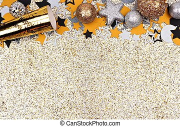 New Years Eve top border against glittery gold background -...
