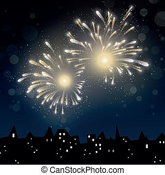 New years eve - Vector Illustration of a Colorful Firework...