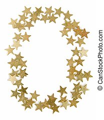 New Year's framework - gold confetti on a white background.