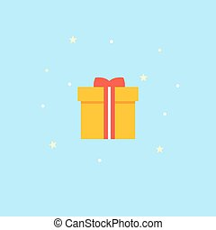 New Years gift - vector Icon. Yellow box with red bow - illustration.