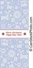 New Years greeting blue template with reindeer
