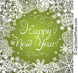 New Years greeting with paper snowflakes