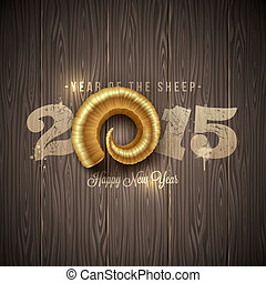 New years greeting with golden horn of a sheep on a wooden surface - vector illustration