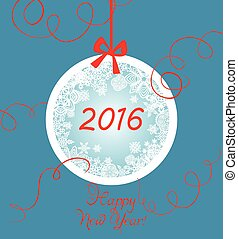 New years greeting with hanging ball