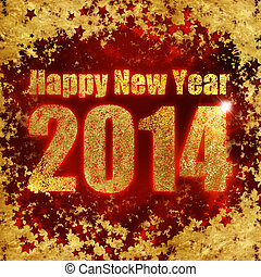 New Year's greetings, gold dust and stars