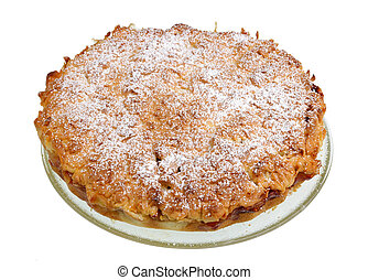 New Year's homemade apple pie with cinnamon isolated