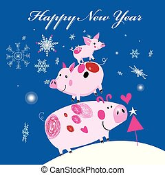 New Year's merry greeting card with three smile piglets -...