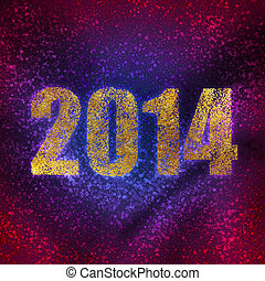 new year's number on background of rainbow glitter