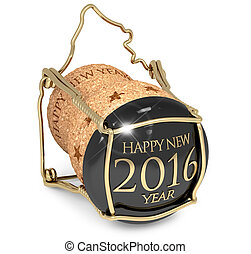 New Year's party - New Year's champagne cork isolated on...
