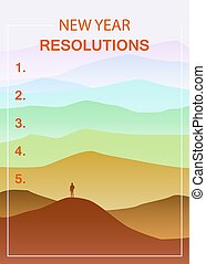 New years resolution in the new year, men standing on the hill looking into new perspectives next year, minimalist landscape, vector, illustration, banner, poster