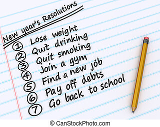 New Year's Resolutions - A list of New years resolutions on...