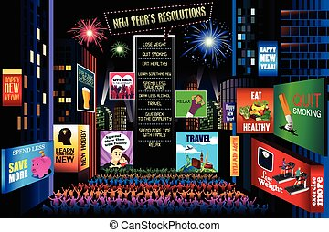 New Years Resolutions - A vector illustration of New Years...