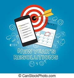 new year's resolutions illustration vector flat target task list calendar