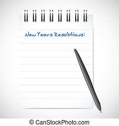 new years resolutions notepad list illustration design over...