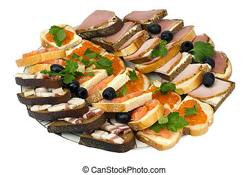 New Year's sandwiches isolated
