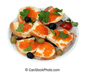 New Year's sandwiches with caviar