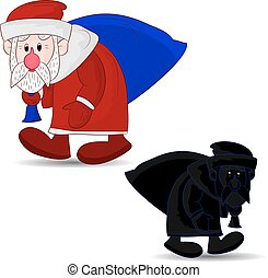 New Year's Santa Claus character with a bag, walks in winter, cartoon on white background,