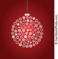 New Year's sphere from snowflakes on a red background. A vector illustration