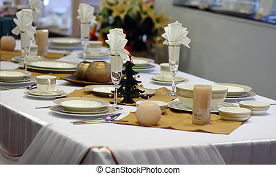 New Year's table serving