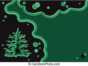 New Year's template in the wind to add your own text. Paper cut design. Christmas tree