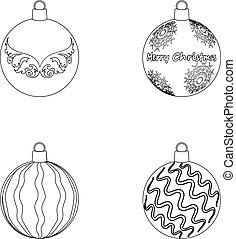 New Year's Toys outline icons in set collection for design. Christmas balls for a treevector symbol stock illustration.