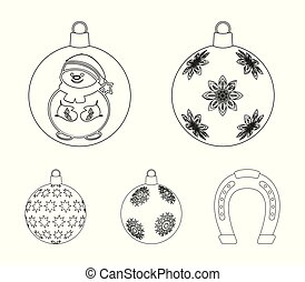 New Year's Toys outline icons in set collection for design. Christmas balls for a treevector symbol stock web illustration.