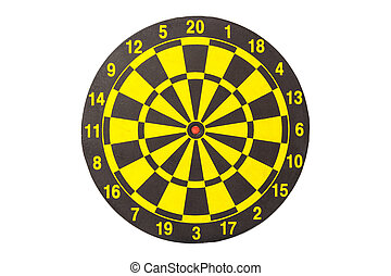 New yellow and black dart board. Isolated on white. Saved with clipping path
