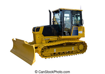 New yellow bulldozer isolated on pure white