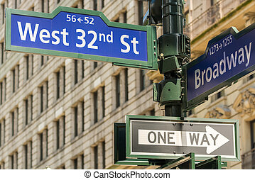 New York. 32nd street intersection sign in Manhattan