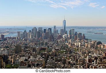 new york, aérien, vue panoramique