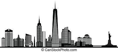 new york america city skyline with monuments and towers