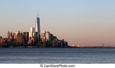 new york, an, sonnenaufgang