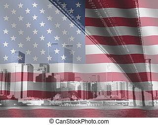 New York and rippled American flag - Brooklyn Bridge and...