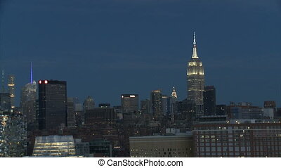 New York at night, and Empire State Building