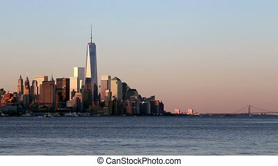 New York at Sunrise - Lower Manhattan Skyline as Seen from...