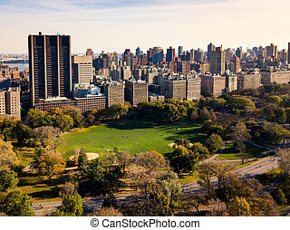 New york autumn landscape in Central park aerial
