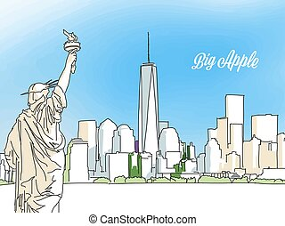 New York Big Apple Panorama Banner