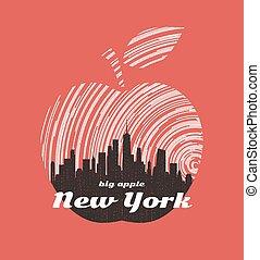 New York big apple t-shirt graphic design with city skyline.