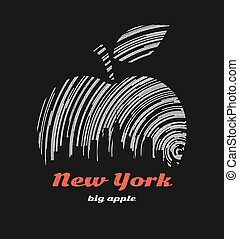 New York big apple t-shirt graphic design with city skyline.