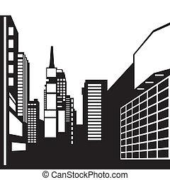 New York black and white image - Vector illustration